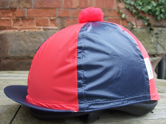 Navy/Red Segments and Pom Colourspin hat cover