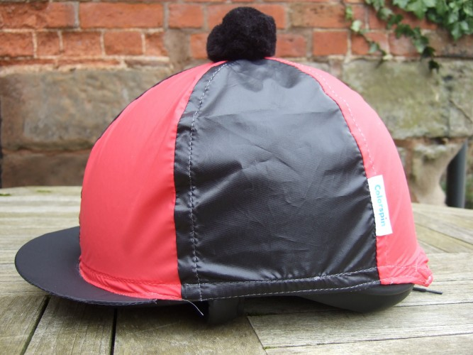 Black/Red Segments and Pom Colourspin hat cover