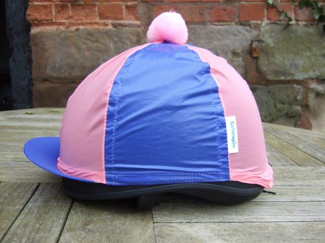 Royal/Pink Segments and Pom  Colourspin hat cover