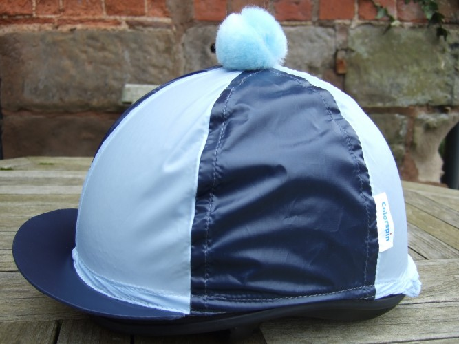 Navy/ Light Blue Segments and Pom Colourspin hat cover