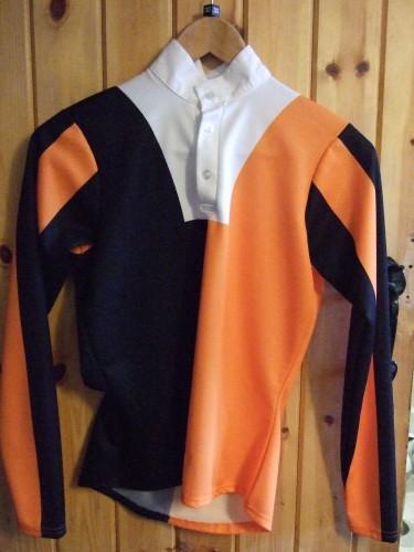 Black/Orange halved body, striped sleeves