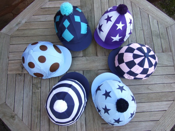 Superior printed lycras- Purple and white alternating sections and stars 2pp, Dark blue and light pink check, Light blue with 2 dark blue stars pp, Dark blue and white hoops, Light blue with 2 brown spots pp, Dark blue with 2 kingfisher diamonds pp