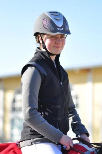 Austrian Rider Benedetta Manfredi in her Black Gilet Air Shell Jacket by Helite.
