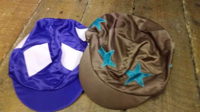 Purple with pink diamonds and Brown with Jade Green Stars Hat Silks