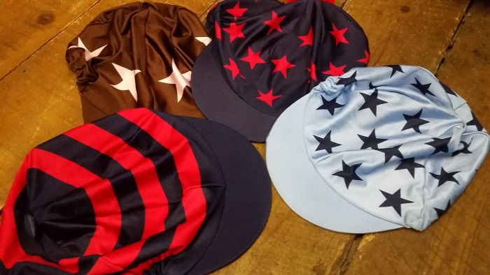 Dark blue with red hoops, Brown with white stars, Dark blue with red multi stars, Light blue with dark blue multi stars Lycra Hat cover.