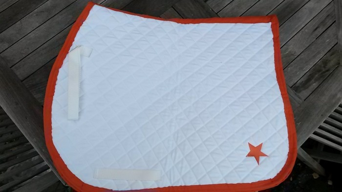 White with orange trim and star