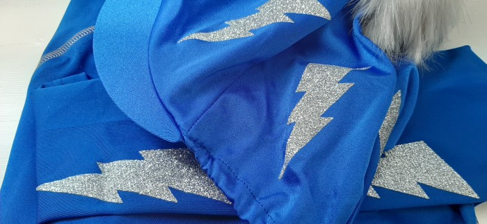 Royal blue with silver glitter lightening bolts.