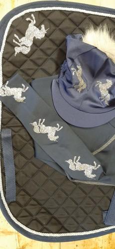 Dark blue with multi coloured glitter unicorns