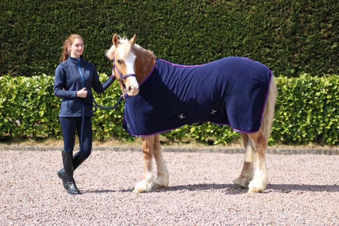 Hy Fleece rug , navy with red trim