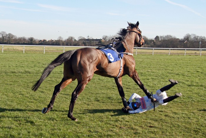 Seamus Durack escaping from a nasty injury in his Racesafe Jockey Vest at Kempton.