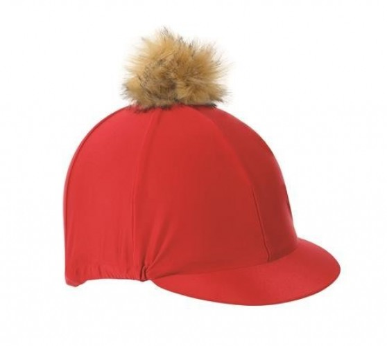 Red Shires Cap with Faux Pom