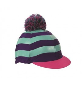 Stripes hat cover with woolly pom
