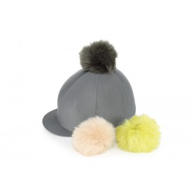 Charcoal Lycra Cap with Interchangeable Faux Poms