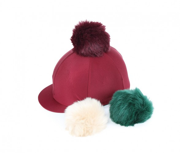 Maroon Lycra Cap with Interchangeable Faux Poms