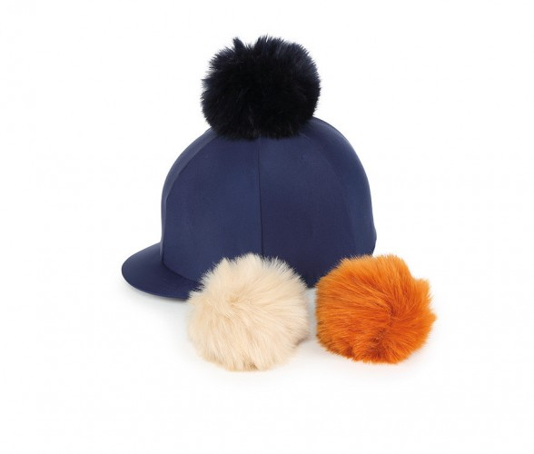 Navy Lycra Cap with Interchangeable Faux Poms