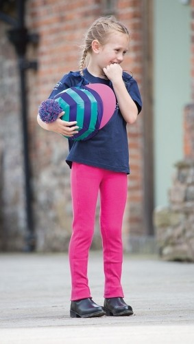 Pink  Wessex Childrens Jodhpurs with Shires hooped lycra cap - see hat cover section