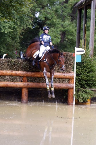 Rachael Gough in her Treehouse colours completing a good clear round cross country at Burghley Horse Trials 2008.
