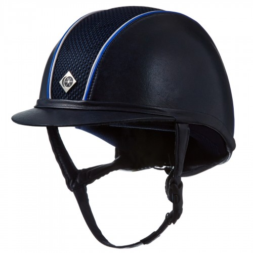 Bespoke AYR8 Leather look Helmet with 1st pipe in white patent and outer piping in royal blue patent piping.
