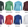 Base Layer Colours. Left to right: Black, Dark Green, Emerald Green, LIght Blue, Maroon, Navy, Pink, Purple, Red, Royal Blue, White, Yellow.