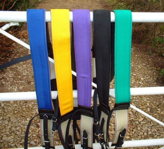 Breast girths in royal blue, yellow, purple, black and green