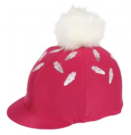 Feather Print & Faux Pom Lycra Hat Covers