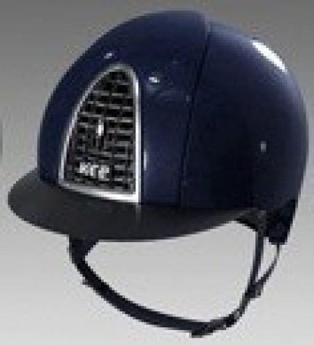 Navy Kep Cromo shine with black grid and chrome frame, black visor.