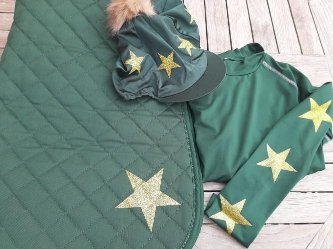 Dark Green with Gold Glitter Stars
