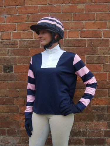 Dark blue event shirt with dark blue and pink hooped sleeves and dark blue with pink hooped silk cap.