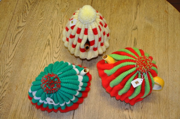 Emerald Green, red and white Cosy, Primrose and Red Cosy, Red and white checked cosy