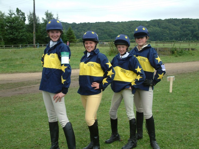 Cotton drill shirts in a bespoke design and lycra caps worn by the Cumberland Farmers Hunt South Team