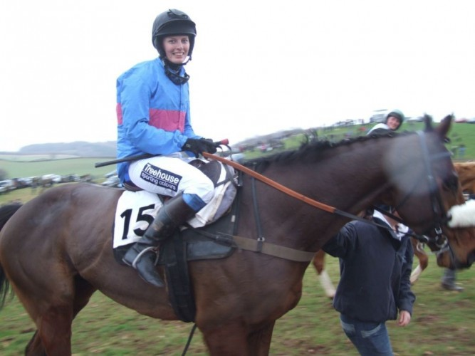 Zazy Dunn coming into the winners enclosure in her Treehouse Sponsorship Embroidered breeches.