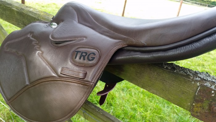 Embroidered letters on Race Saddle