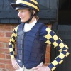 Yellow and dark blue checked sleeves, hooped lycra cap and dark blue RS2010
