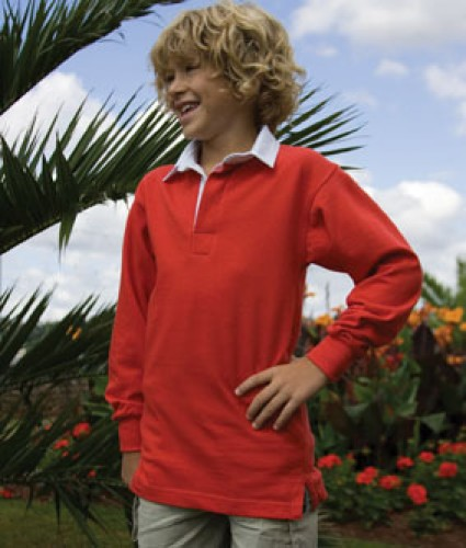 Childs plain rugby shirt in red.