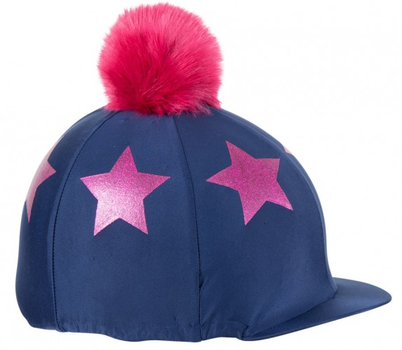 Glitter Star Hat Cover - Navy/Pink image #