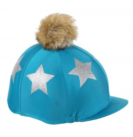 Glitter Star Hat Cover - Teal/Silver