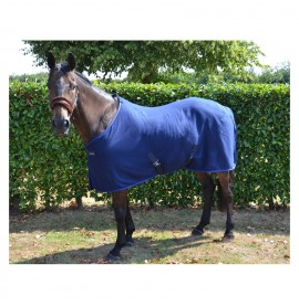 Hy Fleece Rug, Navy with blue trim
