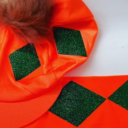 Flo orange with emerald green glitter diamonds