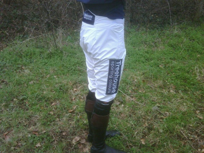 Treehouse sponsorship patches on a pair of Ornella Breeches