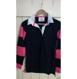 Ladies Rugby Navy with cerise hoops