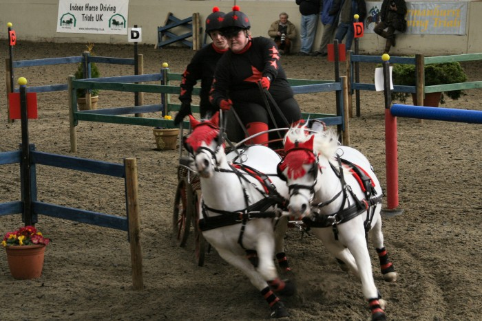 Suzanne Dicketts & Katie Dicketts at the Indoor National Driving Championships 2008 in bespoke long sleeve tee shirts with matching lycra hat covers