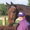 Zoe Hammond with Jiver in a purple and white silk browband
