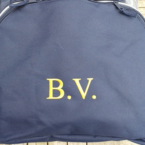 Gold Embroidery on Navy Bag