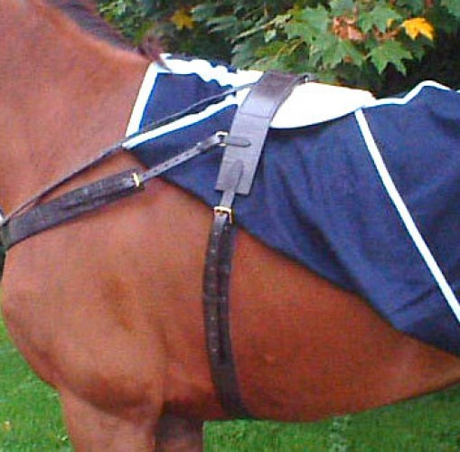 Navy melton wool (non -standard colour) paddock sheet with a leather roller and fleece wither pad.