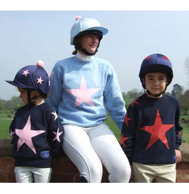 Navy with pink stars, Light blue with pink stars and Navy with red stars