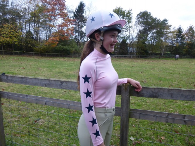 Light pink with 5 navy stars