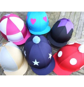 Standard Lycra Caps:Gold/grey segments, dark blue/light blue stars and pom, red/white spots (large) and pom, Cerise/white check (large), Kingfisher/cerise love hearts, black/purple star top