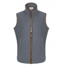 Fleece Gilets with leather trim