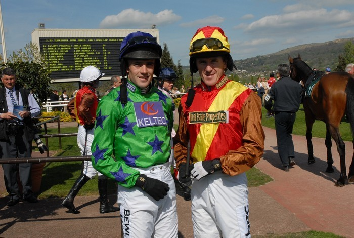Ruby Walsh and Tony McCoy wearing MacWet gloves