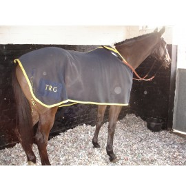 Dark blue with yellow trim mesh cooling rug without cross under belly straps, fillet string and embroidered initials on a rainy day at the races!